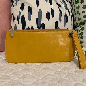 Yellow HOBO Leather Wristlet